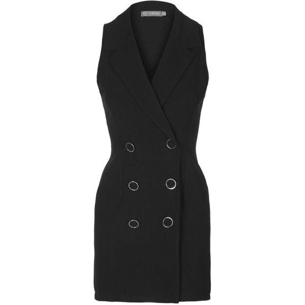 **Tuxedo Dress by Love (€49) ❤ liked on Polyvore featuring dresses, black, kohl dresses, tailored dresses, sleeveless tuxedo, black dress and tux dress