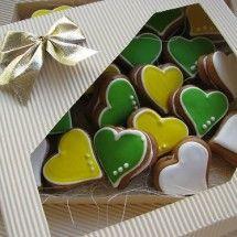 Srdíčka plněná - perník barevná variace svatební