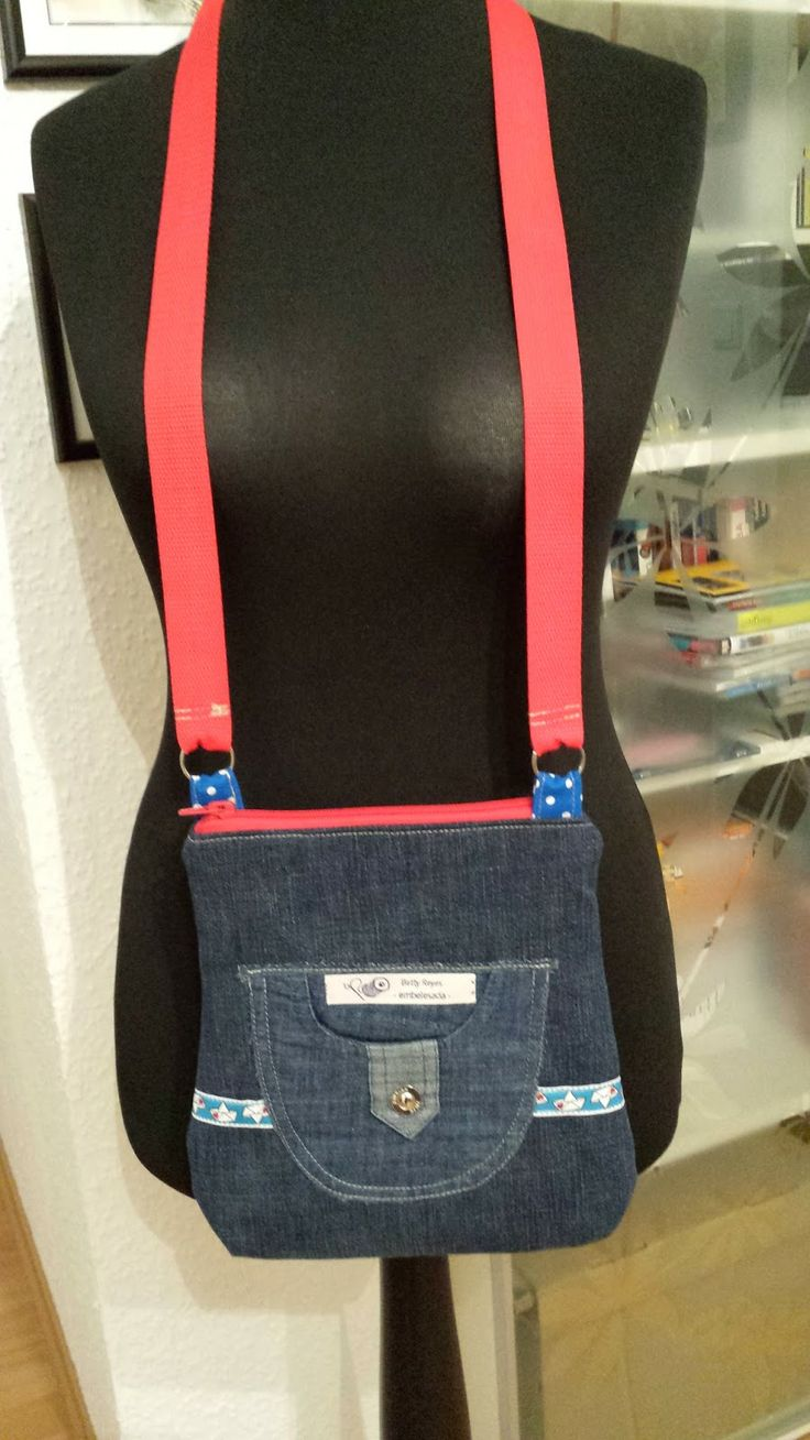 Tasche aus alter Jeans gefüttert mit altem Hemd / Bag made from old pair of jeans, lined with old shirt / Upcycling