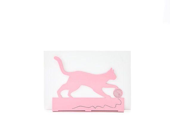 Metal Modern Napkin holder pink // Housewarming gift for a cat lover // modern kitchen decor // Playing Cat // Free shipping worldwide