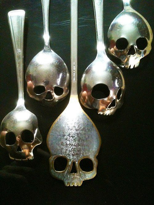 "Darn it. This is the last time I let my son and his friends eat cereal and watch ""Sons of Anarchy"" at our house. Look what they did to my spoons... ~~ Houston Foodlovers Book Club"