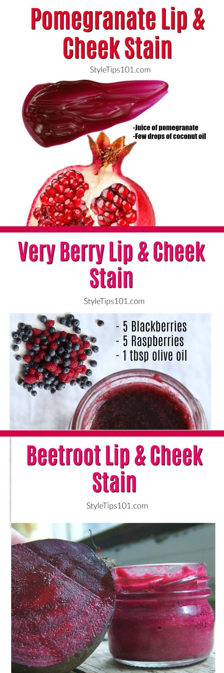 3 all natural lip & cheek stains that will stay put ALL day long!