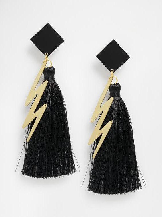 Black ZigZag Earrings