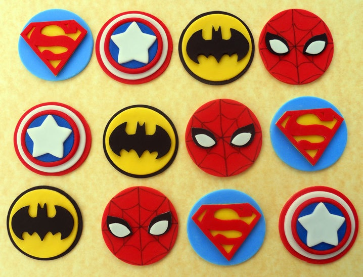 24 SUPERHERO Cupcake Toppers and Cake topper. $71.00, via Etsy.