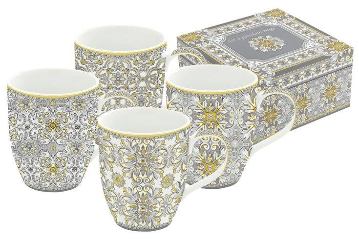 Набор из 4-х кружек из фарфора «Майолика» (серая) в подарочной упаковке      Бренд: Easy Life (Nuova R2S) (Италия);   Страна производства: Китай;   Материал: фарфор;   Коллекция: Майолика;   Количество предметов: 4 шт;   Объем: 0,35 л;          #tea #porcelain #фарфор #посуда #чай