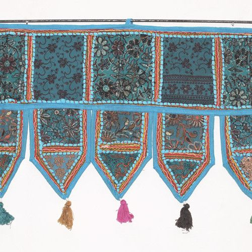 Turquoise Embroidered Door Valance