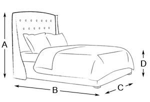 Austen Winged Buttoned Bed Drawing