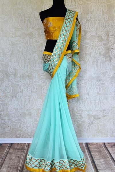 7d5be0b752 Buy sky blue hand embroidery chiffon saree online in USA. Pure Elegance  clothing store brings exquisite range of Indian designer sarees for online  shopping ...