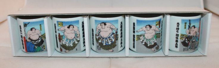 Set of 5 Japan Sumo Wrestlers Yokozuna Dohyo Iri Sake Guinomi Ochoko Cups New