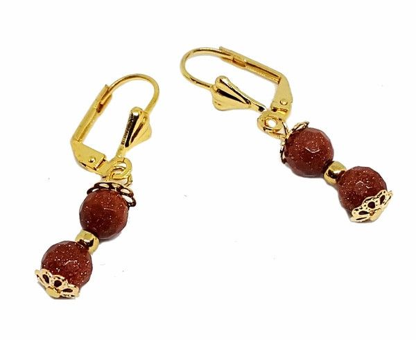 "1-1070-g2-3 18kt Brazilian Gold Layered Double Faceted Gold Sand Stone (Venturina) Drop Earrings. 1-1/2"" length, 6mm beads."