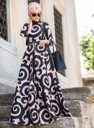 Patterned Evening Dress - Black - Powder - Muslima Wear