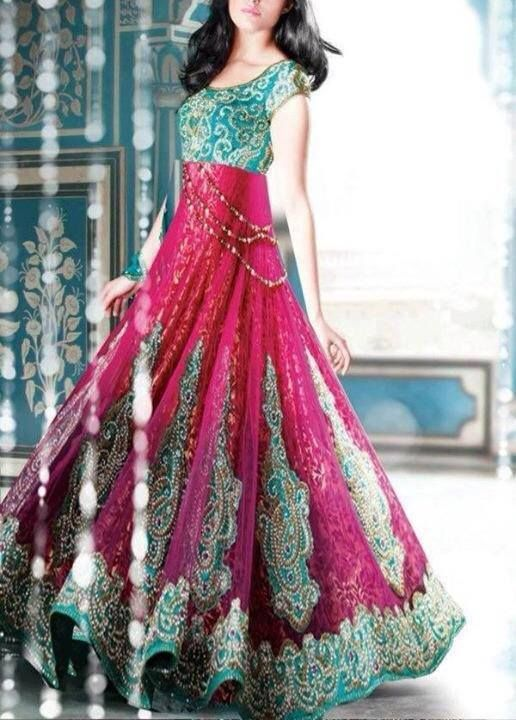 Turquoise/Pink Indian Anarkali Dress - Heavy Embroidery