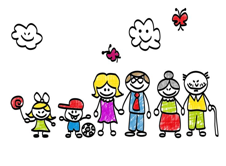 family, sun and clouds