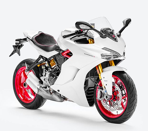 2017 Ducati SuperSport -- the 2017 Ducati SuperSport. They took the 937cc Testastretta motor from the Hypermotard 939 & put it into a trellis frame, easing back the riding position for every day comfort. Power was also moved down in the rev range with mellower gearing. It features ABS & traction control, plus an adjustable Marzocchi fork, Brembo brakes & an Akropovic performance exhaust.
