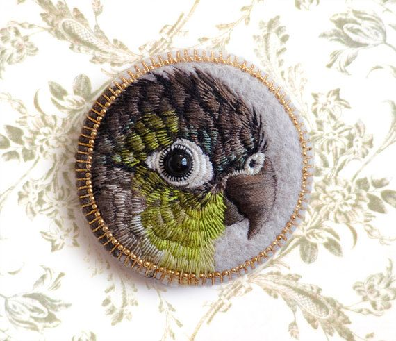 Green Cheeked Conur CUSTOM ORDER by cOnieco on Etsy - embroidered bird badges - gorgeous work.