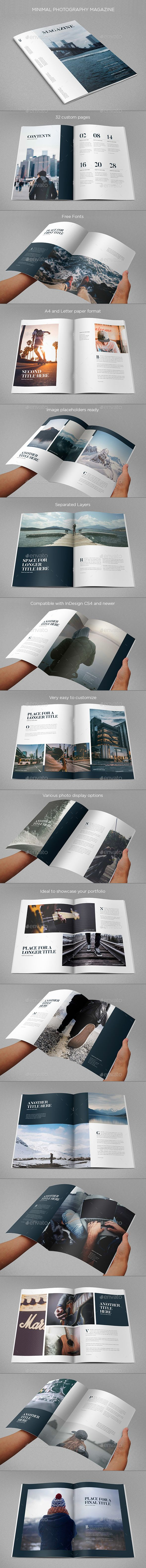 Minimal Photography Magazine Template 	InDesign INDD. Download here: https://graphicriver.net/item/minimal-photography-magazine/17382865?ref=ksioks