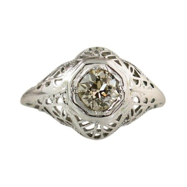 Pre-owned 18K White Gold & .48ct Diamond Ring Size 3.5 ($1,005) ❤ liked on Polyvore featuring jewelry, rings, pre owned engagement rings, white gold rings, pre owned diamond rings, 18k white gold ring and antique engagement rings