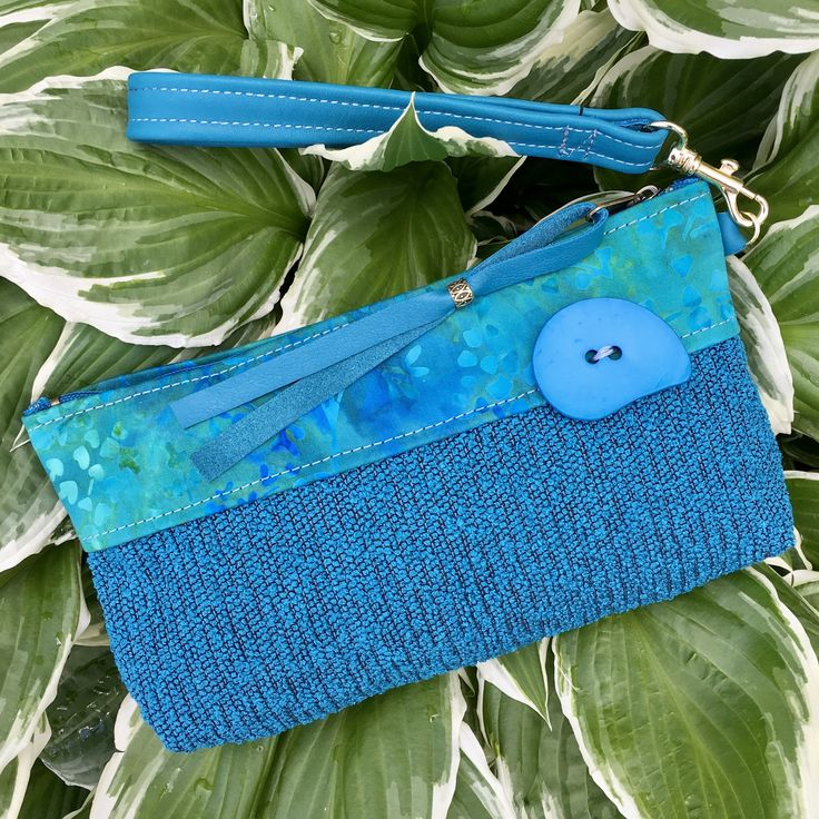 Clutch Wristlet Evening Bag Small Purse Trendy Modern Style Detachable Leather Strap Jewel tone Turquoise Aqua  Chunky Button Gift for Her by SkyPathDesign on Etsy