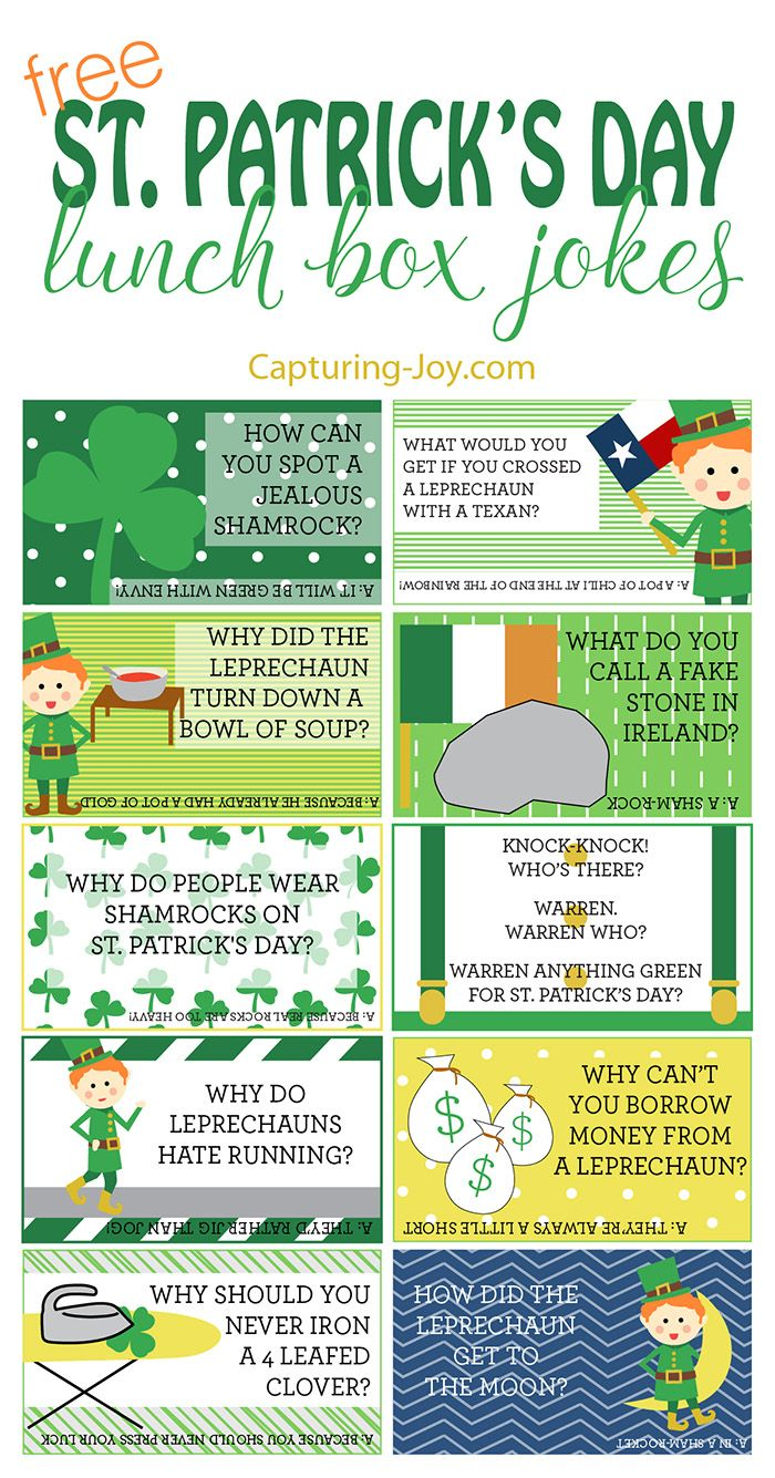 Free printable St. Patricks Day Lunch Box Jokes for your kids!  Grab them on Capturing-Joy.com!