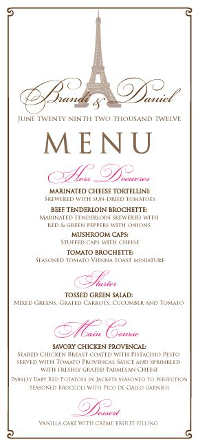 French/Paris Themed Wedding Menu in Pink and Brown