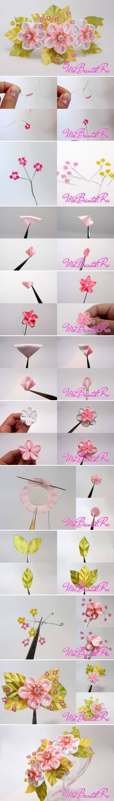 How to Make Golden Sakura Ribbon Flowers step by step DIY tutorial instructions How to Make Golden Sakura Ribbon Flowers step by step DIY tu...