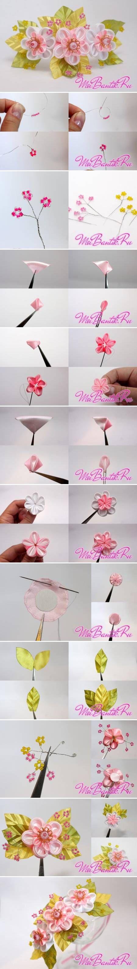 DIY Golden Sakura Ribbon Flower DIY Golden Sakura Ribbon Flower.....(omGEE!...love, LOVE this tutorial and the end result! HAVE TO try it out!!)....
