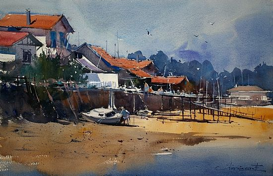 """""""Arcachon III"""" by Eugen Chisnicean.  The play of warm and cool colors and the saved whites in this painting really sing to me.  I simply love it!"""