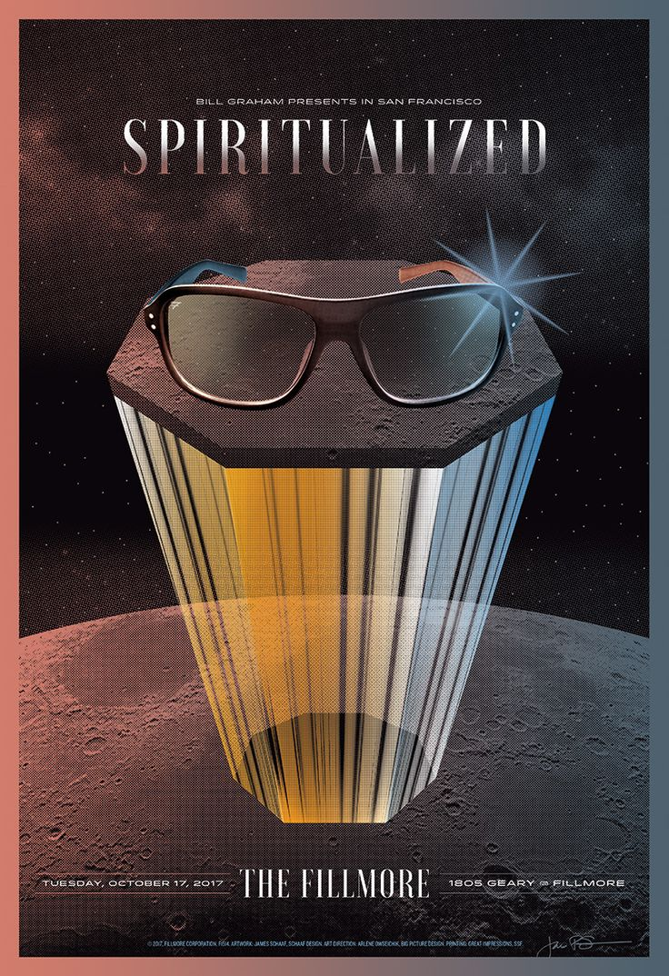 Spiritualized poster. The Fillmore Auditorium, SF. By Schaaf Design. October 17, 2017.