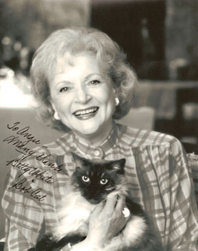 """Betty White and her """"Bob Cat"""": Cat People, Animal Rights, Betty White, Famous People, Bobs Cat, Siamese Cat, Cat Lovers, Famous Cat, White Cat"""