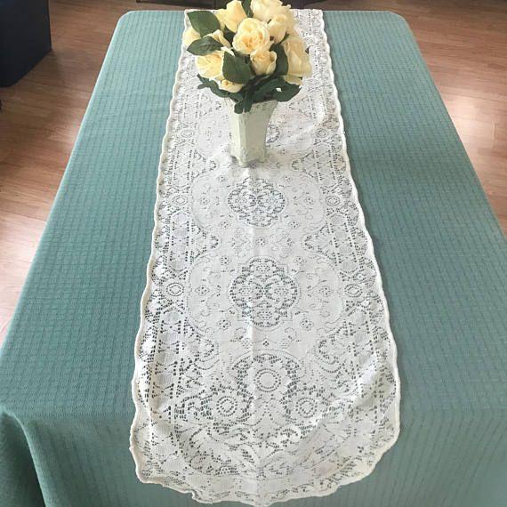 Vintage White Lace Table Runner Dresser Scarf Side Board