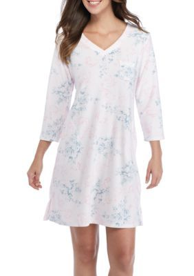 Miss Elaine Women's Brushed Waffle Short Gown - Grey/Pink - Xl