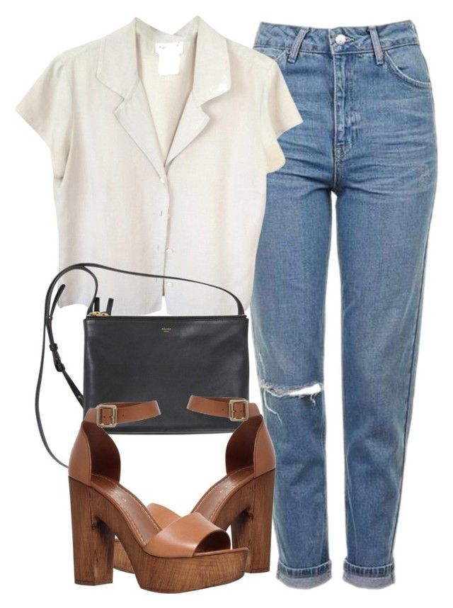 """Untitled #5842"" by laurenmboot ❤ liked on Polyvore featuring Topshop, agnès b. and Carvela"