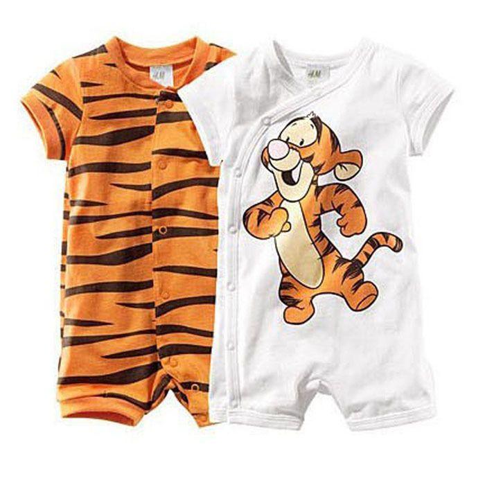 Baby Boy Clothes Baby Rompers Carters Similar Short Sleeve Cartoon Tiger Boy Girl's Wear Stripes  roupas de bebe