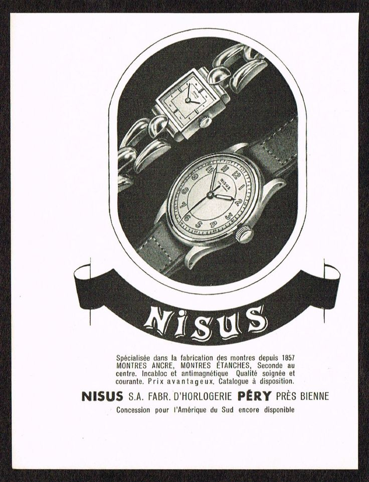 1940's Small Vintage 1945 Nisus Watch Co. - Paper Print AD