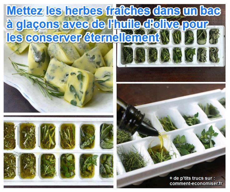 Pour conserver les herbes fraîches longtemps et de façon gourmande, il existe un truc tout simple : les congeler dans de l'huile d'olive.  Découvrez l'astuce ici : http://www.comment-economiser.fr/astuce-conserver-herbes-fraiches-eternellement.html?utm_content=bufferabba9&utm_medium=social&utm_source=pinterest.com&utm_campaign=buffer