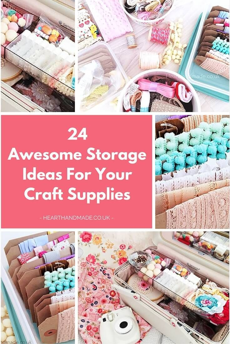 24 Awesome Storage Ideas For Your Craft Supplies - Click through to see gorgeous examples of craft storage which will you can use to organize and prettify your craft room! I love home organization ideas and there are some gorgeous DIY project's that will help you organize your art supplies or the kids art supplies!