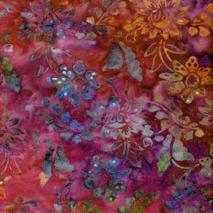 pink violet floral batik fabric
