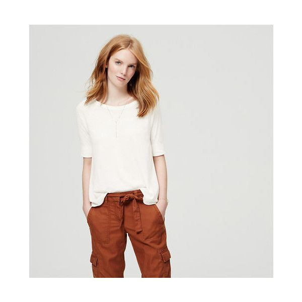 LOFT Slouchy Sweatshirt Tee (45 CAD) ❤ liked on Polyvore featuring tops, whisper white, slouchy tops, drape top, raglan sleeve top, white tops and drapey tops