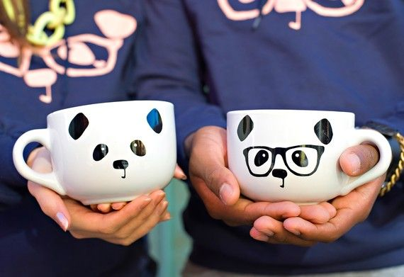 Panda Mugs. Draw on ceramic mugs with sharpies, then bake at 425 for 30 minutes. This is adorable!