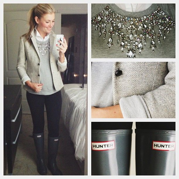 Grey blazer, grey embellished sweater, white button up, black skinnies, grey wellies  cc: karla reed