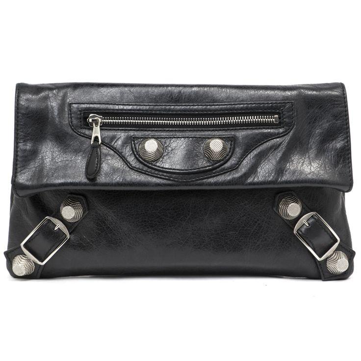 Balenciaga Black Lambskin Giant Silver Envelope Clutch - modaselle