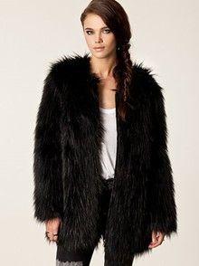 Zwarte fake-fur jas