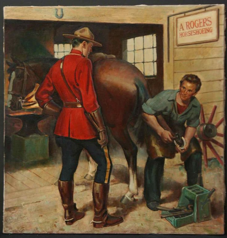Mountie's horse being shod.