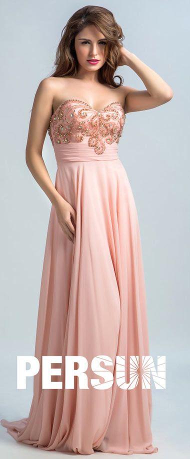7f3459b71f2d6 robe de soirée 2018 ros enude bustier coeur empire orné de strass   bijoux