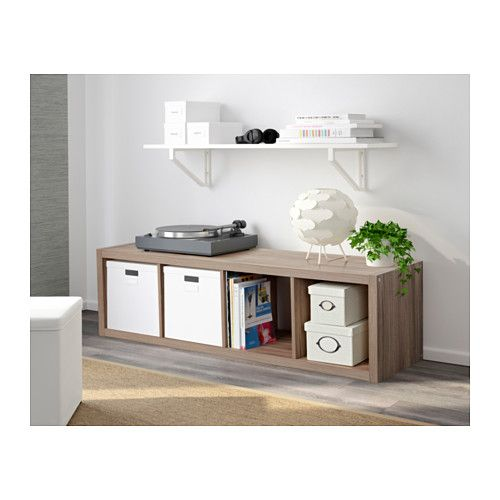 Ikea Walnut Shelves: KALLAX Shelf Unit - Walnut Effect Light Gray