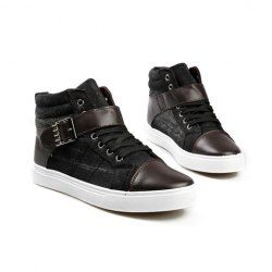 $17.23 Casual Trendy Men's Combat Boots With Splicing High Top and Buckle Design