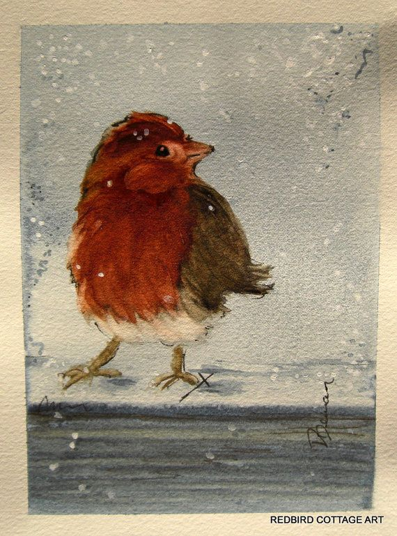First Snow ~ 5 x 7 inch original watercolor painting by RedbirdCottageArt