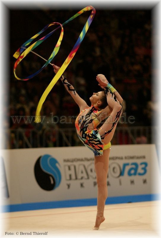 Alina Kabaeva, Russia, in 2001 was disqualified for 2 years due to using banned diuretic (to lose weight). In 2003, Alina returned to competitive gymnastics after the ban, she won the all-around gold medal at the 2003 World Championships as well as gold in ribbon and ball ahead of Ukrainian Anna Bessonova.