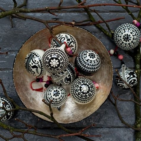 Woodland Baubles: The patterns on our hand painted papier mache baubles are inspired by traditional Polish paper cuts and folk illustrations. They are hand painted in Kashmir by skilled artists.