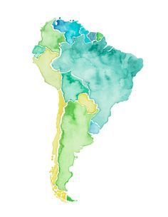 watercolor south american continent geography - Google Search